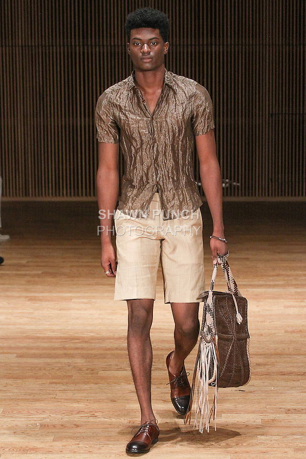 "Model walks runway in an outfit from the Loris Diran Spring Summer 2015 ""Where the Ocean Meets the Sky"" collection fashion show, during New York Fashion Week Spring 2015."