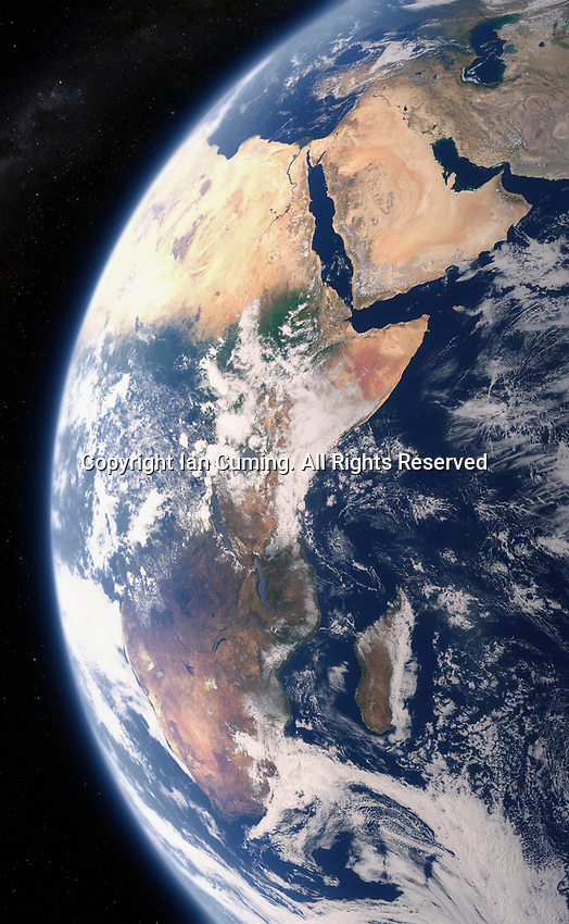 Digitally manipulated image of East Africa and the Middle East from space