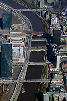 aerial photograph of the bridges over the Shuylkill River, Philadelphia, Pennsylvania. The Cira Centre South towers,  the commercial and residential FMC Tower and  residential Evo Cira Centre South in University City, left.
