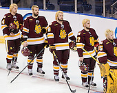 Keegan Flaherty (Duluth - 14), Brady Lamb (Duluth - 2), Drew Olson (Duluth - 8), Mike Seidel (Duluth - 17), Kenny Reiter (Duluth - 35) - The University of Minnesota-Duluth Bulldogs defeated the Union College Dutchmen 2-0 in their NCAA East Regional Semi-Final on Friday, March 25, 2011, at Webster Bank Arena at Harbor Yard in Bridgeport, Connecticut.