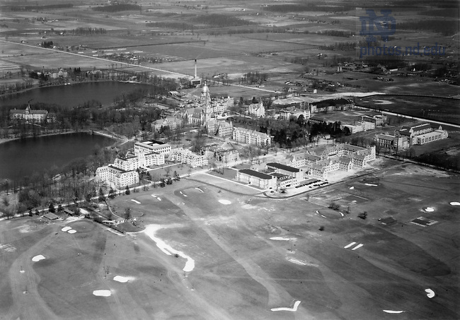 GNDL 6/21:  Aerial view of campus, c1933..Image from the University of Notre Dame Archives.
