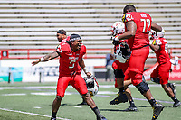 College Park, MD - April 27, 2019:  Maryland Terrapins running back Anthony McFarland Jr. (5) and Maryland Terrapins offensive lineman Marcus Minor (72) celebrates after the Red squad won the spring game at  Capital One Field at Maryland Stadium in College Park, MD.  (Photo by Elliott Brown/Media Images International)