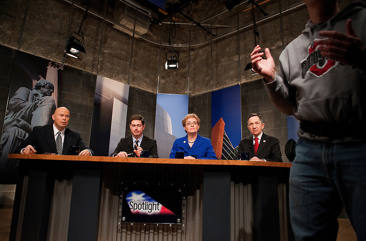 UNITED STATES - FEBRUARY 13:  Rep. Marcy Kaptur, D-Ohio, Rep. Dennis Kucinich, D-Ohio, right, and Graham Veysey, second from left, participate in a candidate debate hosted by Time Warner Cable and moderated by Bob Conklin, left, in Cleveland, Ohio.  Democrats Kaptur, Kucinich and Veysey are running for the OH-09 seat after the state lost two seats due to reapportionment.  (Photo By Tom Williams/CQ Roll Call)