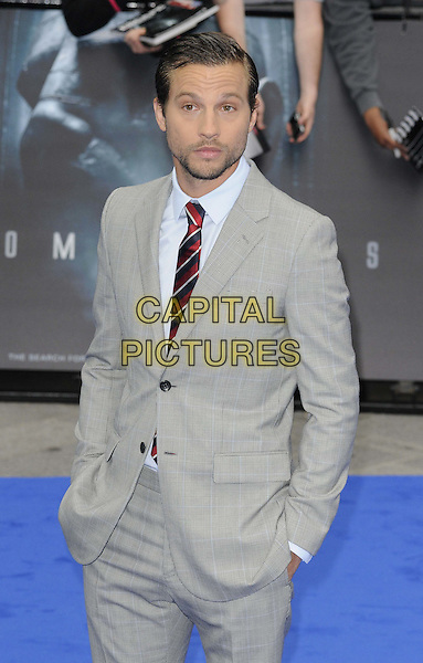 Logan Marshall-Green.'Prometheus' world film premiere, Empire cinema, Leicester Square, London, England..31st May 2012.half length grey gray suit stubble facial hair hands in pockets .CAP/CAN.©Can Nguyen/Capital Pictures.