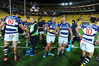 Auckland players celebrate winning the Mitre 10 Cup rugby match between Wellington Lions and Auckland at Westpac Stadium in Wellington, New Zealand on Thursday, 4 October 2018. Photo: Dave Lintott / lintottphoto.co.nz