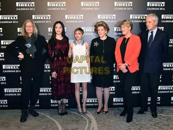 LONDON, ENGLAND - NOVEMBER 30: Annie Leibovitz,Yao Chen, Tavi Gevinson, Agnes Gund, Clare Balding, Marco Tronchetti at a photocall for the launch of the 2016 Pirelli calendar in London on November 30, 2015<br /> CAP/JOR<br /> &copy;JOR/Capital Pictures
