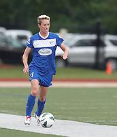 Boston Breakers midfielder Joanna Lohman (11) brings the ball forward.  In a National Women's Soccer League Elite (NWSL) match, Sky Blue FC (white) defeated the Boston Breakers (blue), 3-2, at Dilboy Stadium on June 16, 2013.