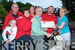 Pat Moynihan, Honda 50 Challenge, pictured presenting a cheque of EUR10,495 to Timmy Moriarty, Killarney and South Kerry branch of the Irish cancer society, at the International Hotel on Wednesday night. Also pictured are Matt and Edel Sweetman, Emma Philips, Caroline Sweetman and Maureen Fogarty...........
