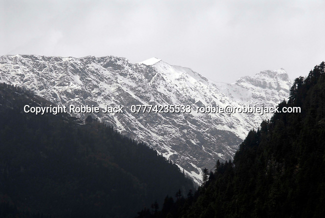 The original name for the Kullu valley was Kulantapith -the end of the habitable world.It is a narrow alpine valley drained by the Beas River and enclosed by the Pir Panjal to the north,the Bara Bangahal range to the west and the Parvati range to the east.This view is looking north from Vashisht  towards the Solang Valley and the Rohtang Pass.