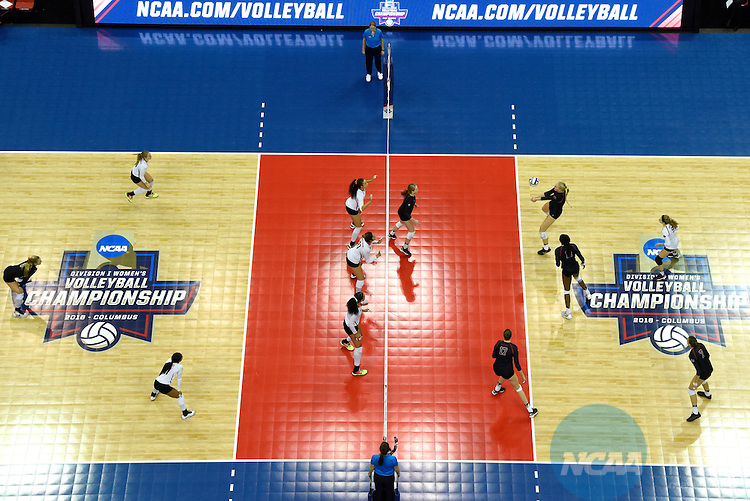 COLUMBUS, OH - DECEMBER 17:  Kathryn Plummer (2) of Stanford University hits a bump against the University of Texas during the Division I Women's Volleyball Championship held at Nationwide Arena on December 17, 2016 in Columbus, Ohio.  Stanford beat Texas 3-1 to win the national title. (Photo by Jamie Schwaberow/NCAA Photos via Getty Images)