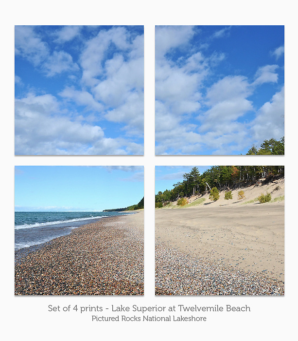 Display a print in a different way with this 4-image photo split of Twelvemile Beach, Pictured Rocks National Lakeshore.