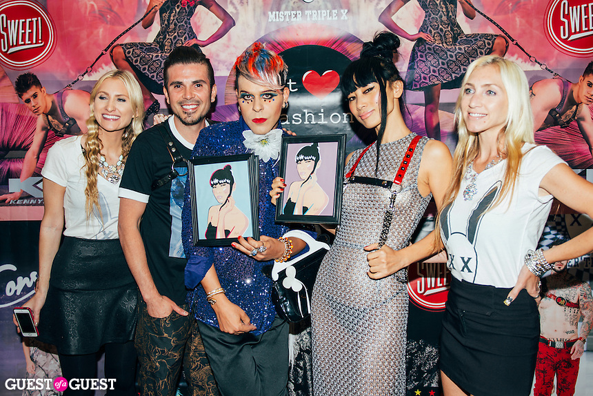 Erik Rosete, Sham Ibrahim, Bai Ling, and friends at Mister Triple X Presents Bunny Land Los Angeles Trunk Show & Fashion Party With Friends (Photo by Tiffany Chien/Guest Of A Guest)