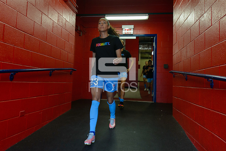 Bridgeview, IL - Sunday June 25, 2017: Christen Press during a regular season National Women's Soccer League (NWSL) match between the Chicago Red Stars and Sky Blue FC at Toyota Park. The Red Stars won 2-1.
