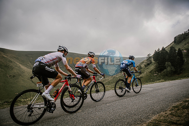 Carlos Verona (ESP) Movistar Team, Latvian Champion Toms Skujins (LAT) Trek-Segafredo and Søren Kragh Andersen (DEN) Team Sunweb from the breakaway climb the Col de Peyresourde during Stage 8 of Tour de France 2020, running 141km from Cazeres-sur-Garonne to Loudenvielle, France. 5th September 2020. <br /> Picture: ASO/Pauline Ballet | Cyclefile<br /> All photos usage must carry mandatory copyright credit (© Cyclefile | ASO/Pauline Ballet)