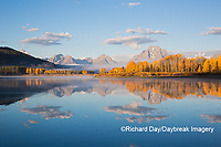 67545-09312 Sunrise at Oxbow Bend in fall; Grand Teton National Park; WY