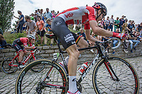 Tim Wellens (BEL/Lotto Soudal) and later stage winner Jasper Stuyven (BEL/Trek Segafredo) up the infamous Kapelmuur (muur van Geraardsbergen)<br /> <br /> Binckbank Tour 2017 (UCI World Tour)<br /> Stage 7: Essen (BE) > Geraardsbergen (BE) 191km