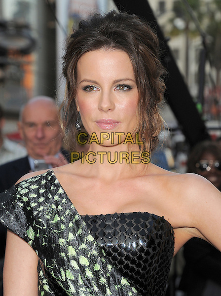 Kate Beckinsale.Premiere of 'Total Recall' held at The Grauman's Chinese Theatre in Hollywood, California, USA..August 1st, 2012.headshot portrait black strapless green one shoulder snakeskin animal print paillettes   .CAP/RKE/DVS.©DVS/RockinExposures/Capital Pictures.
