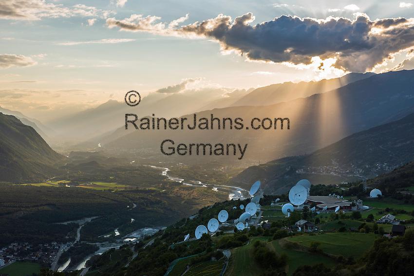Switzerland, Canton Valais, Leuk: Onyx (a Swiss interception system)   Schweiz, Kanton Wallis, Leuk: am Nordhang des Rhonetals, Onyx - ein Schweizer Satellitenabhoersystem  