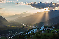 Switzerland, Canton Valais, Leuk: Onyx (a Swiss interception system) | Schweiz, Kanton Wallis, Leuk: am Nordhang des Rhonetals, Onyx - ein Schweizer Satellitenabhoersystem |