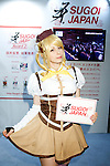 """An exhibitor poses for a picture during Anime Japan 2015 on March 21, 2015 in Tokyo, Japan. Anime Japan 2015 brings together all aspects of the """"anime"""" industry offering an opportunity for visitors get close to creators, voice actors, idol groups, and cosplayers, and to learn about the industry. This is the second year that the exhibition is being held at Tokyo Big Sight. Organizers estimated that approximately 100,000 visitors attended in 2014 and similar huge numbers are expected this year. The exhibition is open on March 21st and 22nd. (Photo by Rodrigo Reyes Marin/AFLO)"""