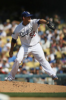 04/29/12 Los Angeles, CA: Los Angeles Dodgers relief pitcher Josh Lindblom #52 during an MLB game between the Washington Nationals and the Los Angeles Dodgers played at Dodger Stadium. The Dodgers defeated the Nationals 2-0.