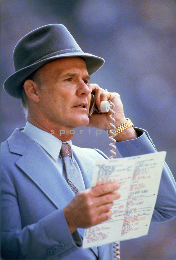 Dallas Cowboys Tom Landry head coach during a game from the 1978 season . Tom Landry coach for 29 years all with the Dallas Cowboys, won 2 Super Bowls for the Dallas Cowboys 1971, 1977 and was inducted to the Pro Football Hall of Fame in 1990.<br /> (SportPics)