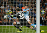 Sergio Aguero of Manchester City fires in a shot on goal disallowed for offside during the Champions League Group F match at the Emirates Stadium, Manchester. Picture date: September 26th 2017. Picture credit should read: Andrew Yates/Sportimage