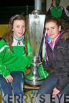 Christina O'Connell and Leen Qusim with the Airtricity Premier League trophy at Celtic Park, Killarney on Tuesday.