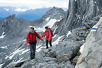 Ratikon, Vorarlberg, Austria, August 2010. On day three we cross the Brandner Gletscher over the Schesaplana. A classical 5 day high alpine hiking tour goes up from the village of Brand to the Oberzalim hut, the Mannheimer hut, over the Schesaplana to the Totalp hut, past lake Lunersee to the Lindauer hut and out to the village of Latschau. Photo by Frits Meyst/Adventure4ever.com