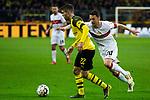 09.03.2019, Signal Iduna Park, Dortmund, GER, 1.FBL, Borussia Dortmund vs VfB Stuttgart, DFL REGULATIONS PROHIBIT ANY USE OF PHOTOGRAPHS AS IMAGE SEQUENCES AND/OR QUASI-VIDEO<br /> <br /> im Bild   picture shows:<br /> Christian Pulisic (Borussia Dortmund #22) im Duell mit Christian Gentner (VfB Stuttgart #20), <br /> <br /> Foto &copy; nordphoto / Rauch