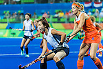 Carlien Dirkse van den Heuvel #9 of Netherlands marks during Netherlands vs Korea in a Pool A game at the Rio 2016 Olympics at the Olympic Hockey Centre in Rio de Janeiro, Brazil.