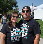 Juanita and Randell owners of the Local Kine Shave Ice booth at the Aloha Festival in Reno on Saturday, August 27, 2016.