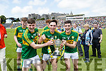 Michael Potts, Cormac Linnane and Graham O'Sullivan Kerry players celebrate after defeating Cork in the Munster Minor Football Final in Fitzgerald Stadium, Killarney on Sunday last.