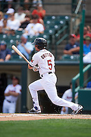 Rochester Red Wings right fielder Buck Britton (5) at bat during a game against the Pawtucket Red Sox on June 29, 2016 at Frontier Field in Rochester, New York.  Pawtucket defeated Rochester 3-2.  (Mike Janes/Four Seam Images)