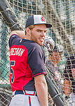 19 March 2015: Atlanta Braves first baseman Freddie Freeman awaits his turn in the batting cage prior to a Spring Training game against the Miami Marlins at Champion Stadium in the ESPN Wide World of Sports Complex in Kissimmee, Florida. The Braves defeated the Marlins 6-3 in Grapefruit League play. Mandatory Credit: Ed Wolfstein Photo *** RAW (NEF) Image File Available ***