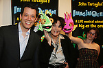 John Tartaglia & Linda Dano & Dorsel & Bubbles & Stacey Weingarten at the opening night of John Tartaglia's Imaginocean, a new family undersea musical adventure on March 31, 2010 at New World Stages, New York City, New York. John Tartaglia's ImaginOcean is an interactive family show - a magical, musical undersea adventure for kids of all ages. Tank, Bubbles, and Dorsel are three best friends who just happen to be fish, and they're about to set out on a remarkable journey of discovery. And it all starts with a treasure map. As they swim off in search of clues, they'll sing, they'll dance, and they'll make new friends -- including everyone in the audience. Ultimately, they discover the greatest treasure of all -- friendship. Jam-packed with original music ranging from swing to R&B to Big Band, John Tartaglia's ImaginOcean is a blast rom the first big splash to the last wave goodbye. (Photo by Sue Coflin/Max Photos)