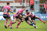 James Wilson of Bath Rugby is tackled to ground. Anglo-Welsh Cup Final, between Bath Rugby and Exeter Chiefs on March 30, 2018 at Kingsholm Stadium in Gloucester, England. Photo by: Matt Impey / Wired Photos for Onside Images