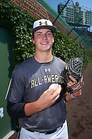 Forrest Whitley (26) of Alamo Heights High School in San Antonio, Texas poses for a photo before the Under Armour All-American Game on August 15, 2015 at Wrigley Field in Chicago, Illinois. (Mike Janes/Four Seam Images)