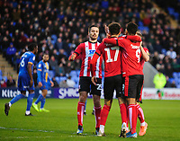 Lincoln City's Tyler Walker celebrates scoring his side's equalising goal to make the score 1-1 with team-mates<br /> <br /> Photographer Andrew Vaughan/CameraSport<br /> <br /> The EFL Sky Bet League One - Shrewsbury Town v Lincoln City - Saturday 11th January 2020 - New Meadow - Shrewsbury<br /> <br /> World Copyright © 2020 CameraSport. All rights reserved. 43 Linden Ave. Countesthorpe. Leicester. England. LE8 5PG - Tel: +44 (0) 116 277 4147 - admin@camerasport.com - www.camerasport.com