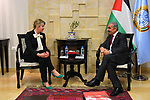 Palestinian Prime Minister Mohammad Ishtayeh meets with Representative of the Republic of Poland to Palestine Alexandra Bokowska in the West Bank city of Ramallah, on April 24, 2019. Photo by Prime Minister Office