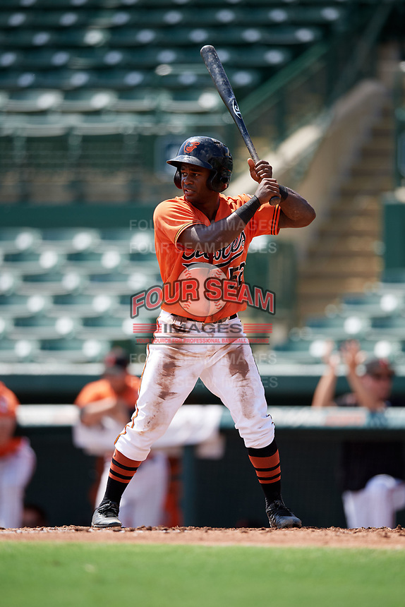 Baltimore Orioles Kirvin Moesquit (52) at bat during an Instructional League game against the Atlanta Braves on September 25, 2017 at Ed Smith Stadium in Sarasota, Florida.  (Mike Janes/Four Seam Images)