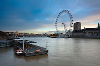 Winter dawn over the River Thames from Westminster Bridge looking towards The London Eye and South Bank, London, Uk