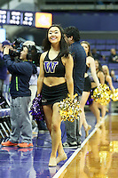 SEATTLE, WA - DECEMBER 18: Washington cheerleader Miki Saito entertained fans during a timeout against Savannah State.  Washington won 87-36 over Savannah State at Alaska Airlines Arena in Seattle, WA.