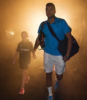 10-02-14, Netherlands,Rotterdam,Ahoy, ABNAMROWTT,, , Jo-Wilfried Tsonga(FRA) walk on<br /> Photo:Tennisimages/Henk Koster