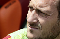 Calcio, Serie A: Roma, stadio Olimpico, 30 aprile 2017.<br /> AS Roma Francesco Totti waits for the start of the Italian Serie A football match between AS Roma and Lazio at Rome's Olympic stadium, April 30, 2017.<br /> UPDATE IMAGES PRESS/Isabella Bonotto