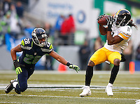 Markus Wheaton #11 of the Pittsburgh Steelers makes a catch in the first half in front of Marcus Burley #28 of the Seattle Seahawks during the game at CenturyLink Field on November 29, 2015 in Seattle, Washington. (Photo by Jared Wickerham/DKPittsburghSports)