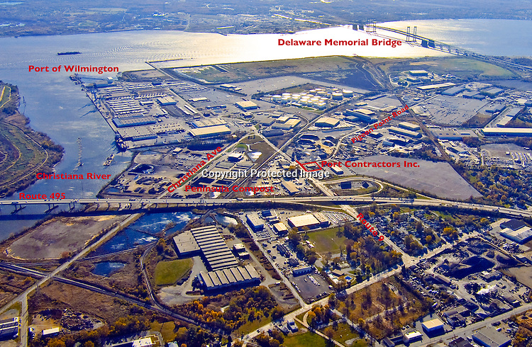 Aerial views of the Port of Wilmington, Delaware