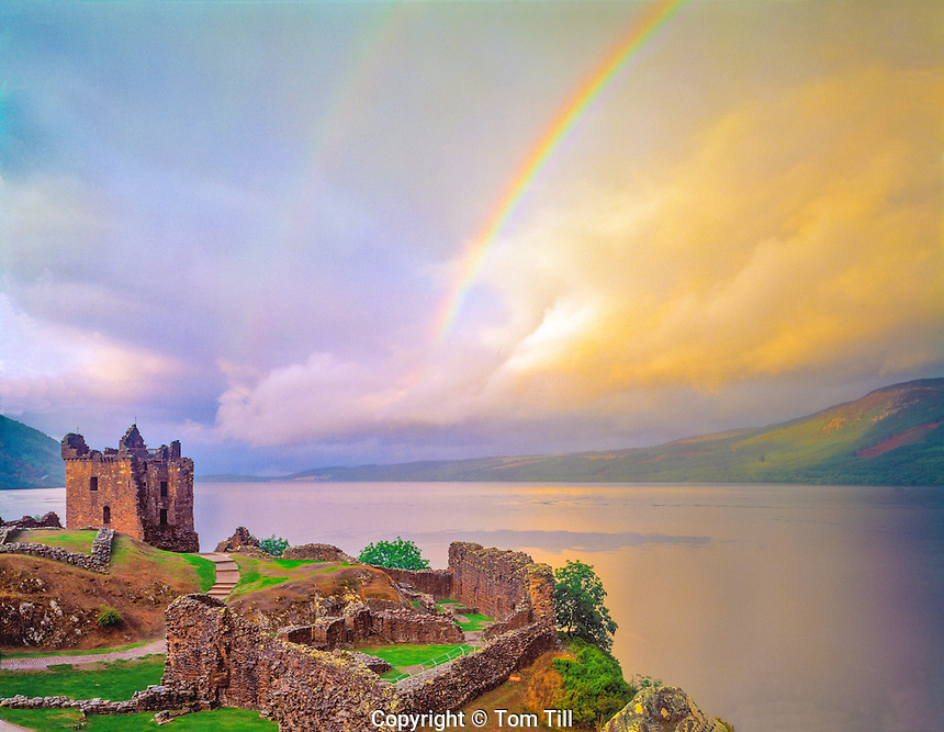 Rainbow over Urquhart Castle, Urquhart Castle Historical Park, Scotland, United Kingdom, Loch Ness, in the Great Glen, built in the 13th Century, September