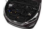 Car stock 2018 Hyundai Tucson Premium 5 Door SUV engine high angle detail view