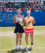 June 18th 2017, Nottingham, England;WTA Aegon Nottingham Open Tennis Tournament;  Champagne moment from Monique Adamczak and Storm Sanders of Australia who won the Ladies Doubles Final against Jocelyn Rae and Laura Robson of Great Britain